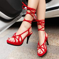 $22.99 Red Suede Crisscross Lace Up Heels @ MayKool.com