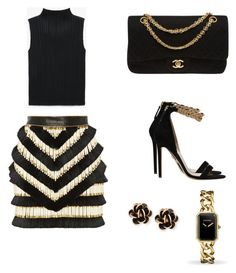 A fashion look from April 2017 featuring sleeveless tops, short skirts and high heeled footwear. Browse and shop related looks. Balmain, Polyvore Fashion, Versace, Chanel, Shoe Bag, Clothing, Stuff To Buy, Shopping, Accessories
