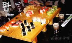 sushi 'n shots Birthday Candles, Sushi, Cravings, Shots, Dishes, Flatware, Plates, Dish, Kitchen Utensils