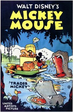 Filme / Zeichentrick: Mickey Mouse-Trader Mickey (USA von Walt Disney im Retro Disney, Vintage Disney Posters, Disney Movie Posters, Classic Movie Posters, Cartoon Posters, Old Disney, Classic Cartoons, Disney Magic, Disney Art