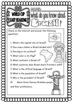 The 2014 Soccer World Cup offers us a good opportunity to engage students in several language learning activities. In this set, I added a variety of Readings to be used as centers for reading comprehension: Fifa 2014 World Cup, Brazil World Cup, Free Activities, Teaching Activities, Geography Lessons, Soccer World, Sixth Grade, Reading Comprehension, School Stuff