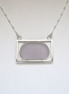 Sea Glass Jewelry - Sterling Purple Sea Glass Necklace
