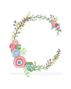 C  impresión de carta floral