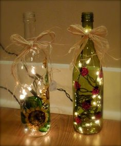 Creative Gifts Featuring Handpainted Gifts for Everyone: Recycle those old wine bottles into cute lights for use anywhere!