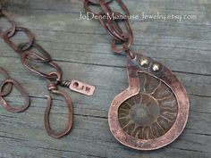 Ammonite fossil necklace, hand fabricated rustic oxidized copper ammonite necklace, one of a kind metalsmith jewelry $135. by JoDeneMoneuseJewelry on Etsy