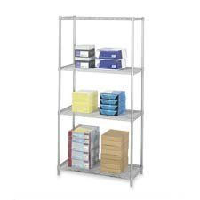 """2 Extra Shelves, F/5285, 36 quot;x18 quot;, Gray by Safco. $87.21. Safco Products Company Products - 2 Extra Shelves,  F/5285,  36""""x18"""",  Gray - Sold as 1 CTWire shelving includes four shelves, four posts and snap-together clips. Strong welded wire construction with a per shelf capacity of at least 1,250 lb. (with weight evenly distributed). Open wire design permits air circulation and prevents dust accumulation. Shelves adjust in 1"""" increments. Unit assembles in minutes w..."""