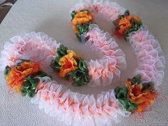 Peach Lace with Ilima by AlohaRibbonCrafts on Etsy