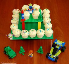 DIY Lego Cupcake Stand ~ made using Lego base plates and bricks