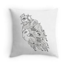 'Lion of the Sea' Throw Pillow by NadiaTurner Framed Prints, Canvas Prints, Art Prints, Black And White Pillows, Laptop Skin, Laptop Sleeves, Lion, Throw Pillows, Sea