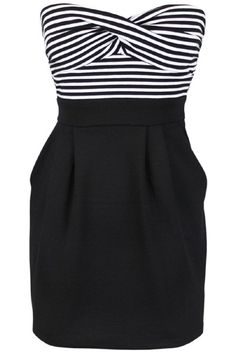 Love this cute summer dress with the b striped top and black skirt with pockets.  Cute and wearable my many body types