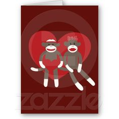 Sock Monkeys in Love Hearts Valentine's Day Gifts Greeting Card
