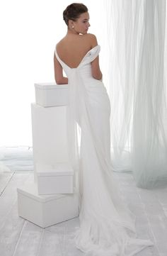 V-Neck Sheath Wedding Dress  with Natural Waist in Silk. Bridal Gown Style Number:32277931