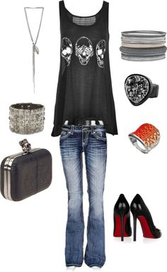 """rocker chic"" by ms-jennifer on Polyvore another ""if I could pull this off..."" outfit"