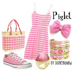Just because its Piglet! - Piglet disneybound outfit This is a lot of pink! I don't know if I would wear it all together but I love the bag and shoes. Disney Themed Outfits, Disney Dresses, Disney Clothes, Disneybound Outfits, Disney Inspired Fashion, Disney Fashion, Estilo Disney, Look 2018, Character Inspired Outfits