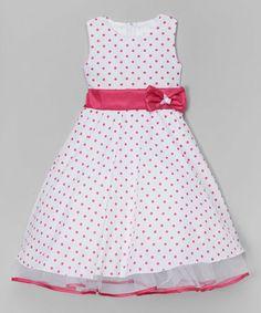 Love this White & Fuchsia Polka Dot A-Line Dress - Infant, Toddler & Girls on #zulily! #zulilyfinds