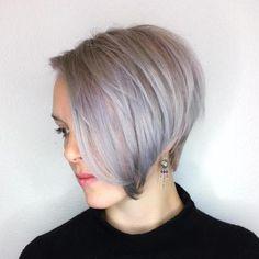 Purple Gray Side Parted Pixie Bob