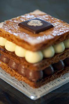 Chocolate Praline Mille-Feuilles. St Regis Saadiyat. Dessert plate by Glass Studio www.bakedoctor.com