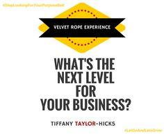 There will be a point in your small business/home business, when you outgrow your current processes, marketing, and resources.  Do you have a plan for growth? What's the next level for your business?  We can assist you and your team with growing to the next level.   VelvetRopeExperience.com