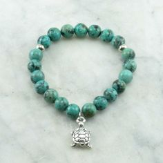 Creation Mala Bracelet Turquoise Mala Beads with Turtle 21 mala beads for self forgiveness, wholeness, compassion