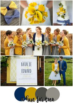 Navy, Mustard and Grey Rustic Wedding Colour Scheme - Rustic Weddings - Blue Yellow Grey - A Hue For Two - www.ahuefortwo.com