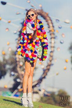 pom pom vest #colorful #fashion #pompom