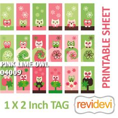 Cute pink lime owl tags! These images are perfect for any craft projects such as domino pendants, glass pendants, or any other jewelry crafts. Also great for gift tags, and labels.  Format File: JPG (high resolution, 300 dpi)    Tag size: 1 x 2 inch    Sheet size: US Letter (8,5 x 11 inch)