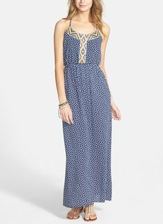 Such a pretty blue and white maxi dress. Adore the embroidered detail.