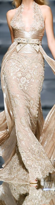Zuhair Murad Haute Couture Collection nude gold lace gown