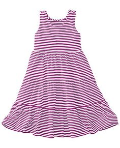 Supersoft dress swings on a pivot and practically flies at full twirl. It's crafted with the details of a very special dress, yet comfy as all our playwear. <br>• 100% combed cotton jersey<br>• Yarn-dyed stripes<br>• Racerback slipover<br>• Three tiered skirt<br>• Certified by Oeko Tex Standard 100<br>• Prewashed<br>• Imported