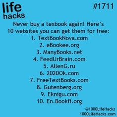 10 Websites For Free Textbooks – Never Buy A Textbook Again! life hacks for school life hacks for men 10 Websites For Free Textbooks – Never Buy A Textbook Again! life hacks for school life hacks for men School Life Hacks, High School Hacks, College Life Hacks, School Study Tips, College Tips, College Books Free, Disney Life Hacks, My School Life, College Savings