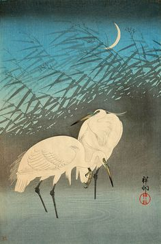 Japanese animals birds art prints, Two Herons FINE ART PRINT, japanese woodblock prints, animals paintings, japan vintage art, home decor