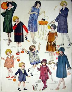October 1923 Fashion Pattern Illustration - Children all Dressed up for Halloween Party - Trick or Treating - Way too Cute Cute Little Girls, Little Girl Dresses, Cute Kids, Girls Dresses, Pattern Illustration, Illustration Children, Vintage Outfits, Vintage Fashion, Fashion Plates
