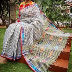 Elegant Handloom Andhra Soft Cotton Saree in lovely colors with woven checks and Ikkat weave in the palla and borders Blouse piece is NOT included Saree Length Silk Dupatta, Handloom Saree, Sari Silk, Ethnic Fashion, Womens Fashion, Indian Designer Wear, Cotton Saree, Indian Wear, Sarees