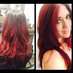 Red balayage ombré by Heather