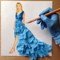 Armenian Fashion Illustrator Creates Stunning Dresses From Everyday Objects Pics) - moda Arte Fashion, 3d Fashion, Ideias Fashion, Fashion Dresses, Fashion Design Drawings, Fashion Sketches, Fashion Illustrations, Dress Sketches, Drawing Fashion