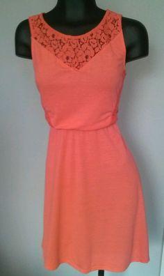 Xhilaration Target Coral Lace Dress Knee Length Peach Orange Pink S Small #Xhilaration #Sheath #Casual