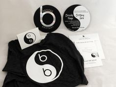 Fun Yin Yang Double Sided Foil Stamped Beats by Dre Logo Bat Mitzvah Invitation with matching Custom Stamps, Thank You Notes and Tshirt Giveaways. paperworksandevents.com #batmitzvah #invitation #yinyang #beatsbydre #roundinvitation #customstamps #tshirt #giveaways #thankyounotes #backandwhite #paperworksandevents