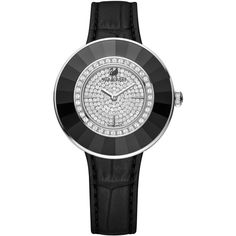 Swarovski Octea Black-Tone Stainless Steel Croc Leather Strap Watch... ($410) ❤ liked on Polyvore featuring jewelry, watches, no color, stainless steel jewellery, stainless steel watches, black stainless steel watches, black jet jewelry and swarovski jewelry