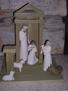 Building a Willow Tree Creche Nativity Stable, Nativity Creche, Diy Christmas Ornaments, Christmas Decorations, Xmas, Willow Tree Nativity, Holiday Crafts For Kids, Holidays With Kids, Homemade Gifts