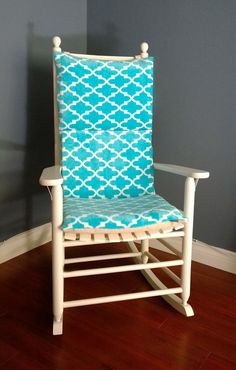 Rocking Chair Cushion Cover   Turquoise Microplush
