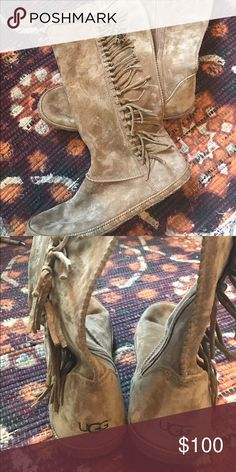 UGG Mammoth boots Gorgeous, unique uggs only worn a couple times! No damage. Size 9, but I usually wear an 8.5. UGG Shoes Winter & Rain Boots