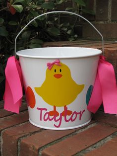 Personalized 5 qt. Metal Easter Bucket / by DearDoodlezDesigns, $20.00