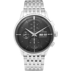 Junghans Meister Chronoscope Stainless Steel Watch (6.336.220 COP) ❤ liked on Polyvore featuring mens, men's jewelry, men's watches and silver