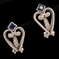 Shop 18KW .75ctw Sapphire Diamond Scroll ANTIQUE Earrings and other jewelry, art, coins, rugs and real estate at www.aantv.com