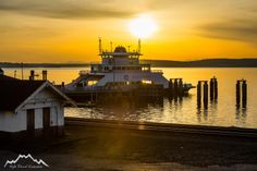 Warm sunset at the ferry terminal in Steilacoom, Washington.