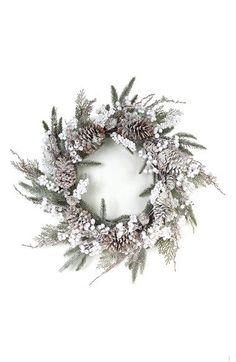 Unlit Holiday Christmas Door Tradional Wreath w/Frosted Pine Cones & Berries for sale online Christmas Door, Rustic Christmas, All Things Christmas, Winter Christmas, White Wreath, Diy Wreath, Tulle Wreath, Burlap Wreaths, Door Wreaths