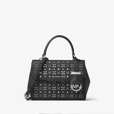 a2c4d42a79f5 MICHAEL Michael Kors Ava Extra-Small Perforated-Leather Crossbody Bag Black