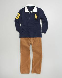 Big Pony Rugby Shirt & Corduroy Pants by Ralph Lauren Childrenswear at Bergdorf Goodman.