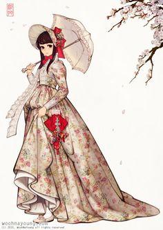 17번째 이미지 How To Make Clothes, Making Clothes, Floral Pleated Skirt, Digital Image, Disney Characters, Fictional Characters, Character Illustration, Korean Fashion, Victorian