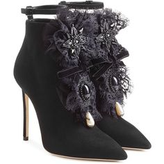 Dsquared2 Suede Ankle Boots (1,315 BAM) ❤ liked on Polyvore featuring shoes, boots, ankle booties, ankle boots, black, booties, black suede bootie, black bootie boots, pointy-toe ankle boots and pointed toe booties